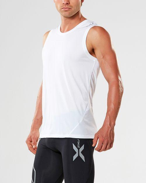 Mens 2XU X-CTRL Muscle Sleeveless & Tank Tops Technical Tops - White/Black S