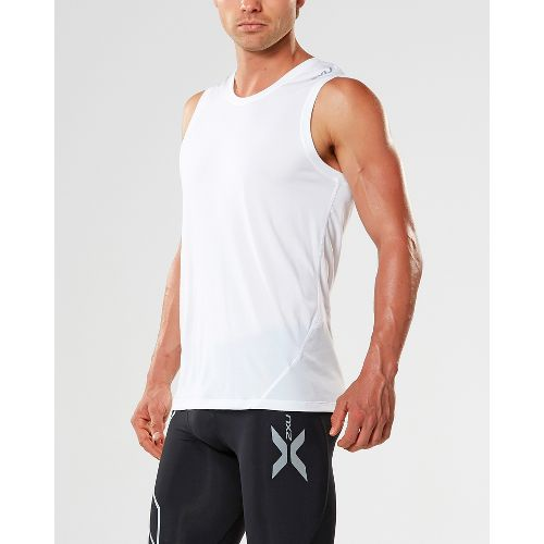 Mens 2XU X-CTRL Muscle Sleeveless & Tank Tops Technical Tops - White/Black M