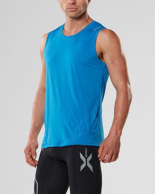 Mens 2XU X-CTRL Muscle Sleeveless & Tank Tops Technical Tops - Blue/Black XL