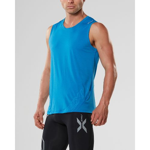 Mens 2XU X-CTRL Muscle Sleeveless & Tank Tops Technical Tops - Blue/Black S