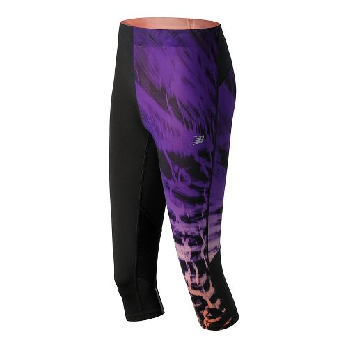 Womens New Balance Impact Premium Print Capris Tights - Electric Glow M