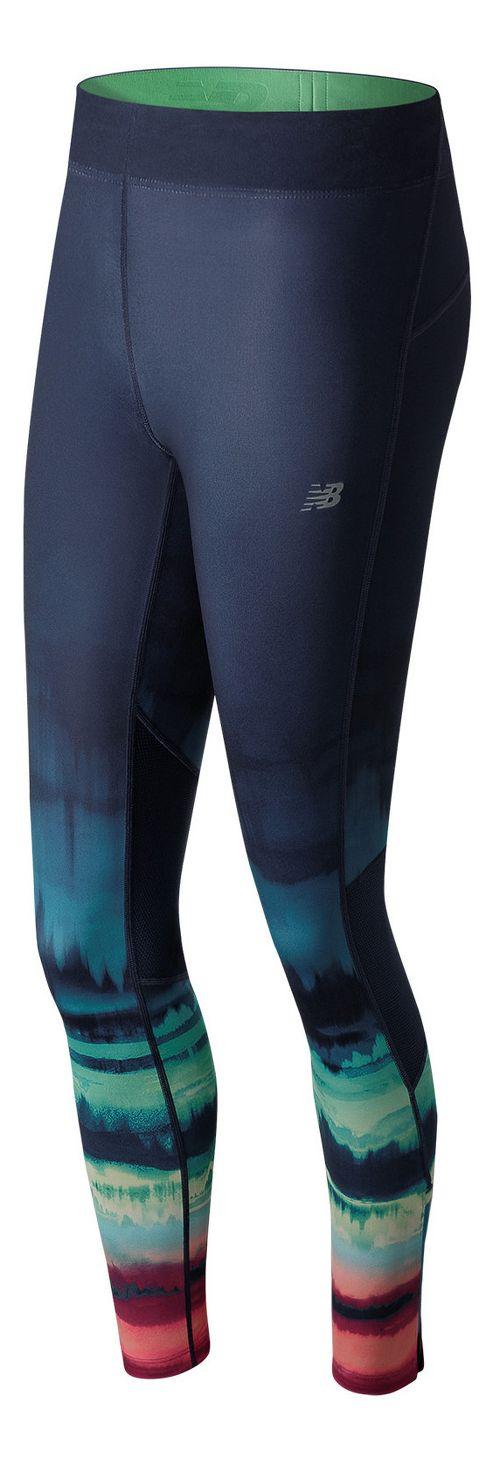 Womens New Balance Impact Premium Print Tights - Placed Waves XS