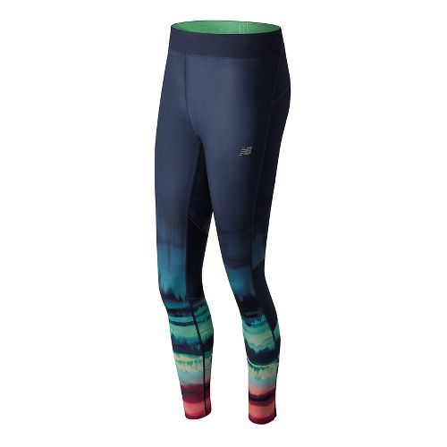 Womens New Balance Impact Premium Print Tights - Placed Waves S