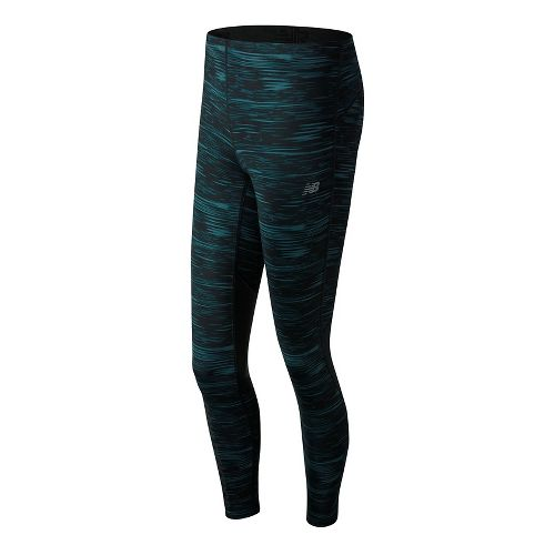Womens New Balance Impact Print Tights - Black Stripe XS