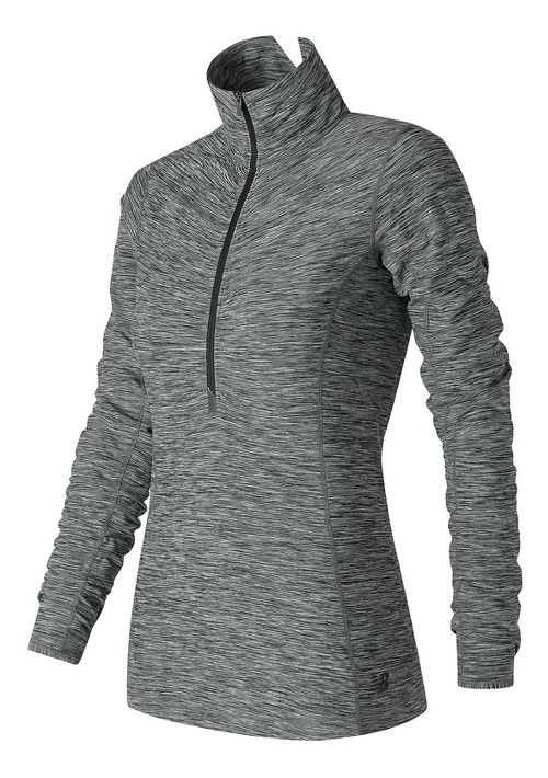Womens New Balance In Transit Half-Zips & Hoodies Technical Tops - Black/White XL