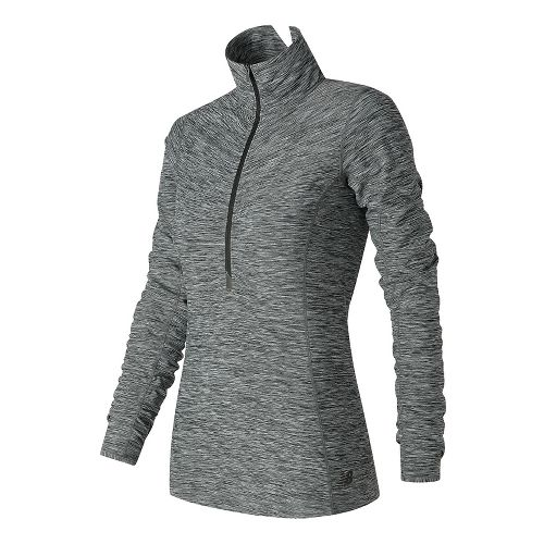 Womens New Balance In Transit Half-Zips & Hoodies Technical Tops - Black/White M