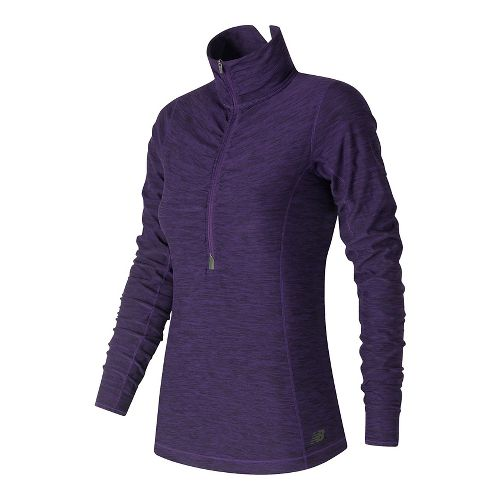 Womens New Balance In Transit Half-Zips & Hoodies Technical Tops - Black Plum Heather XS ...