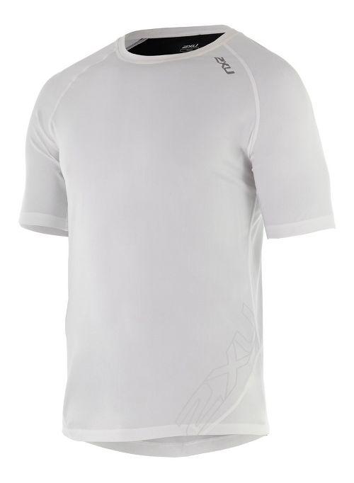 Mens 2XU X-CTRL Tee Short Sleeve Technical Tops - White/Black L
