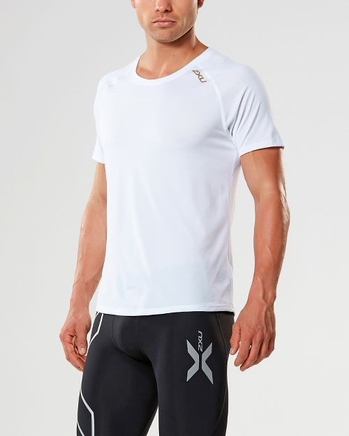 Mens 2XU X-LITE Tee Short Sleeve Technical Tops - White/Gold L