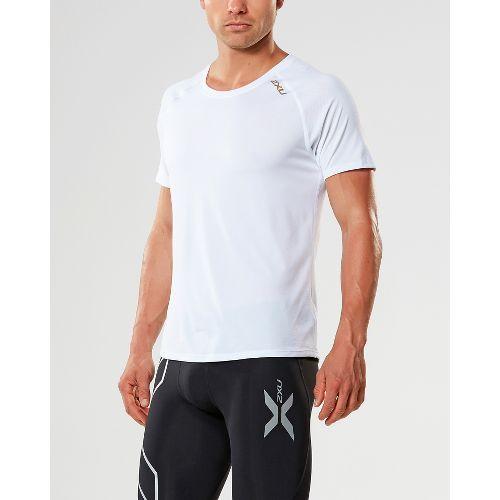 Mens 2XU X-LITE Tee Short Sleeve Technical Tops - White/Gold M