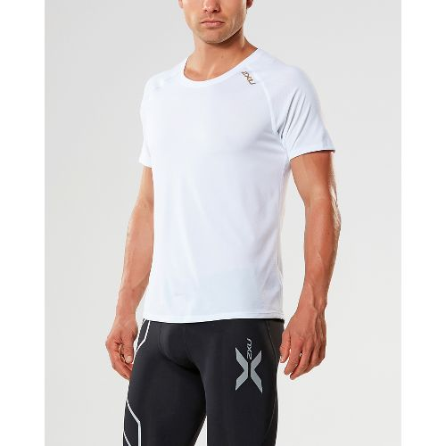 Mens 2XU X-LITE Tee Short Sleeve Technical Tops - White/Gold S