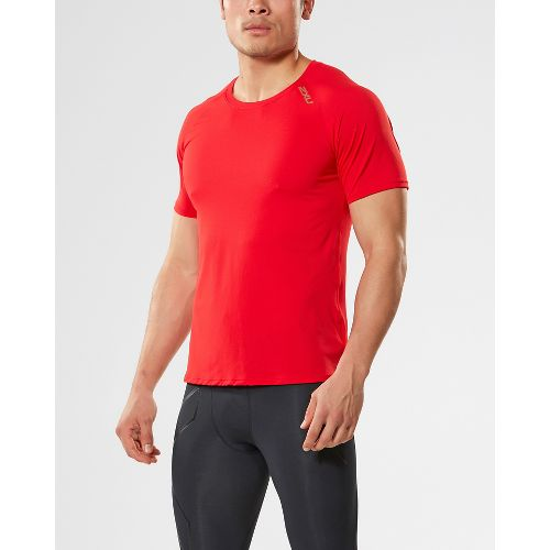 Mens 2XU X-LITE Tee Short Sleeve Technical Tops - Flame/Gold XXL