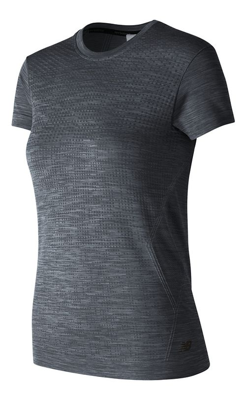 Womens New Balance M4M Seamless Short Sleeve Technical Tops - Black Heather M