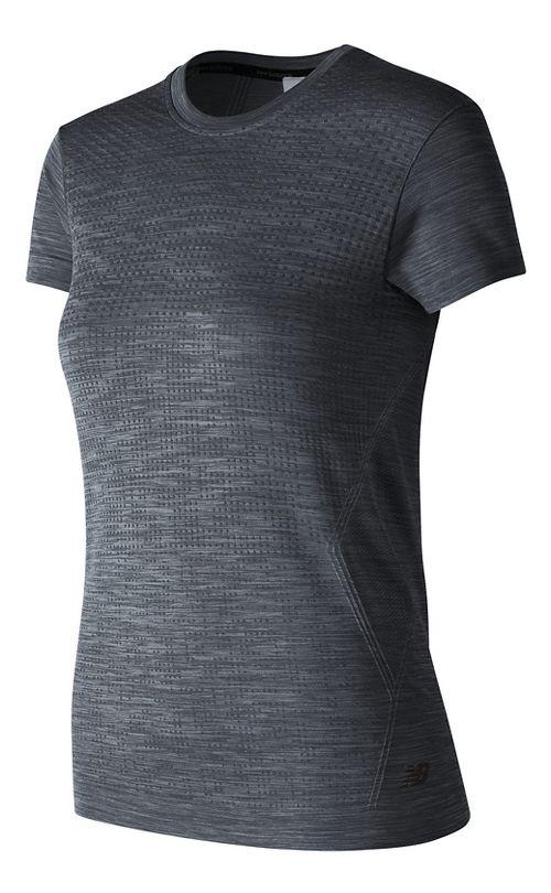 Womens New Balance M4M Seamless Short Sleeve Technical Tops - Black Heather S