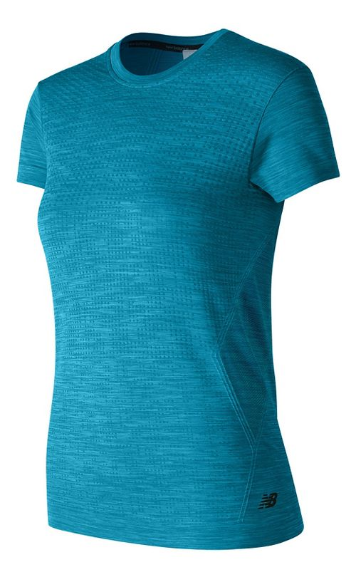 Womens New Balance M4M Seamless Short Sleeve Technical Tops - Deep Blue Heather XS