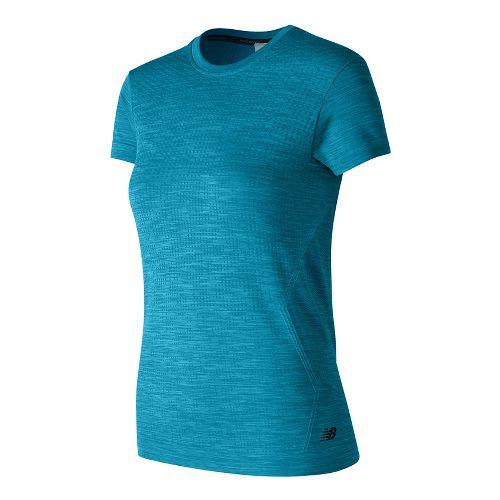 Womens New Balance M4M Seamless Short Sleeve Technical Tops - Deep Blue Heather M