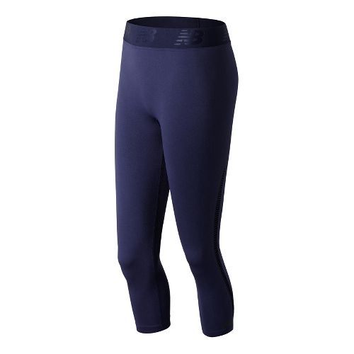 Womens New Balance M4M Seamless Breathe Capris Tights - Pigment M