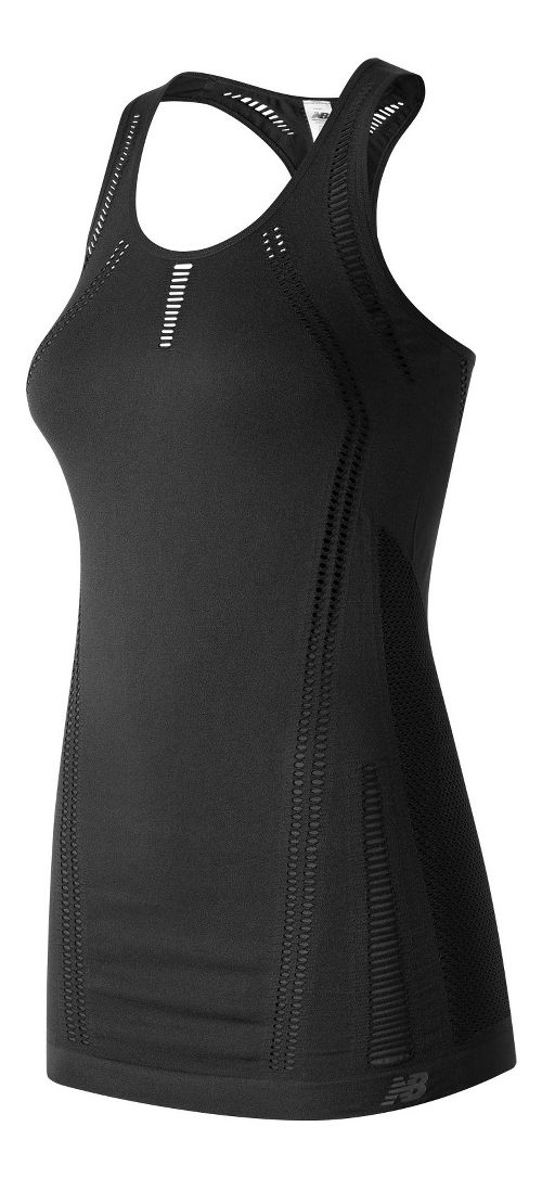 Womens New Balance M4M Seamless Breathe Sleeveless & Tank Technical Tops - Black M
