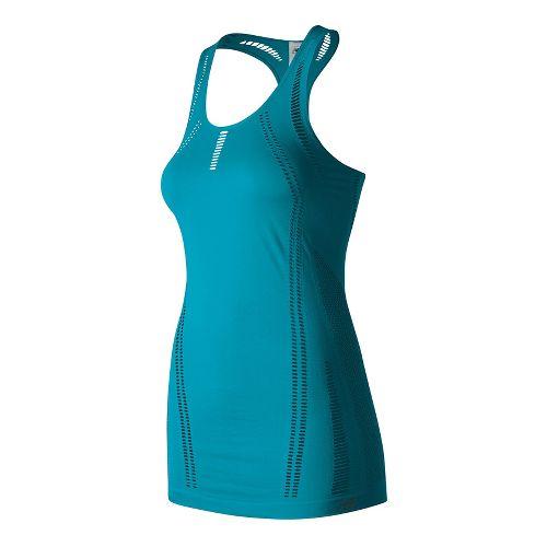 Womens New Balance M4M Seamless Breathe Sleeveless & Tank Technical Tops - Deep Ozone Blue M