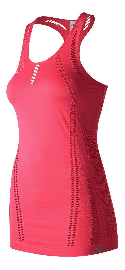 Womens New Balance M4M Seamless Breathe Sleeveless & Tank Technical Tops - Pomegranate L