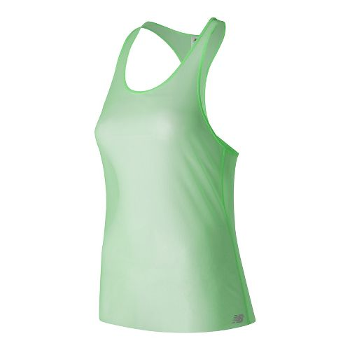 Womens New Balance Mesh Sleeveless & Tank Technical Tops - Agave Green XS