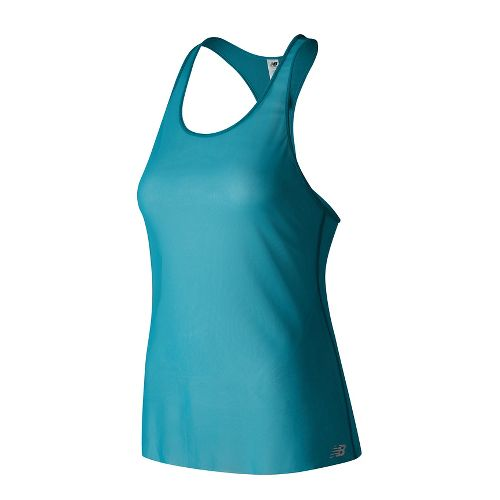 Womens New Balance Mesh Sleeveless & Tank Technical Tops - Deep Ozone Blue S