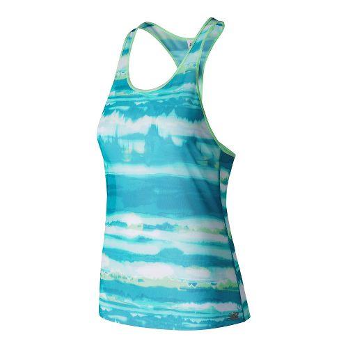 Womens New Balance Mesh Sleeveless & Tank Technical Tops - Deep Ozone Waves L