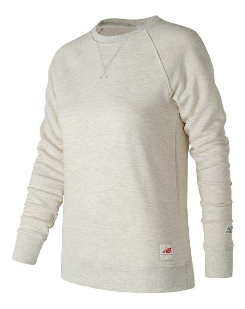 Womens New Balance MiUSA Crewneck Fleece Long Sleeve Technical Tops - Oatmeal Heather XL