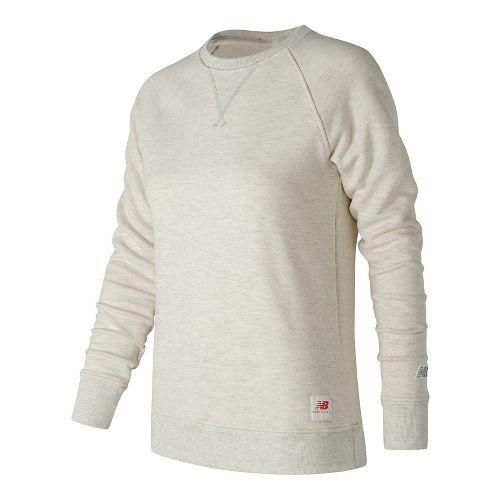 Womens New Balance MiUSA Crewneck Fleece Long Sleeve Technical Tops - Oatmeal Heather S