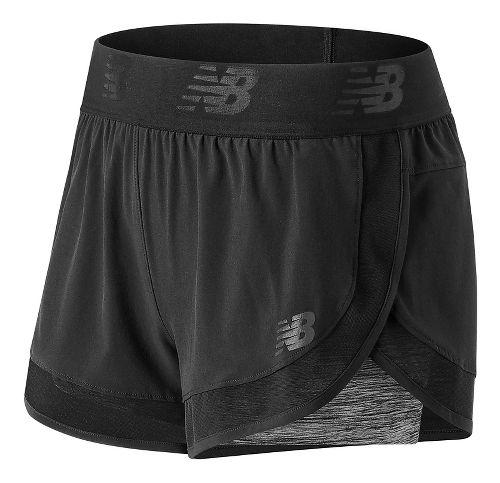 Womens New Balance Mixed Media 2-in-1 Shorts - Black L