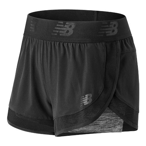 Womens New Balance Mixed Media 2-in-1 Shorts - Black L
