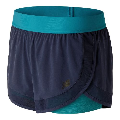 Womens New Balance Mixed Media 2-in-1 Shorts - Pigment XS