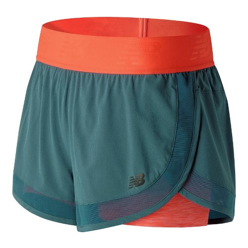 Womens New Balance Mixed Media 2-in-1 Shorts - Sunrise XS
