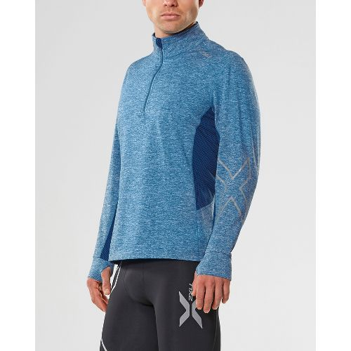 Mens 2XU X-VENT 1/4 Zip Long Sleeve Technical Tops - Blue/Blue S