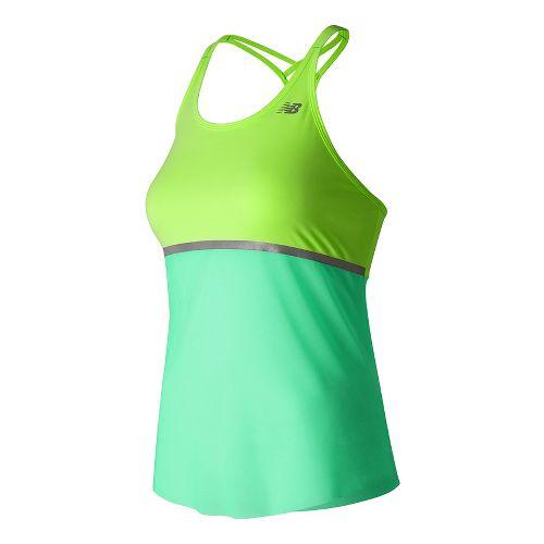 Womens New Balance NB ICE Hybrid Sleeveless & Tank Technical Tops - Lime Glow L ...
