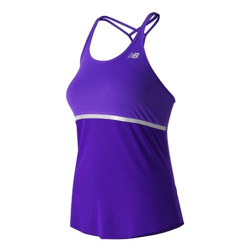 Womens New Balance NB ICE Hybrid Sleeveless & Tank Technical Tops - Deep Violet L ...