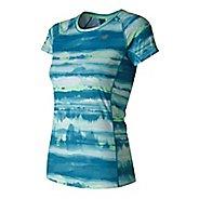 Womens New Balance NB ICE Print Short Sleeve Technical Tops
