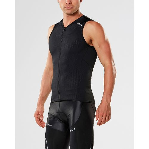 Mens 2XU X-VENT Multisport Tri Singlet Sleeveless & Tank Tops Technical Tops - Black/Black L ...