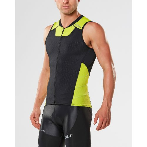 Mens 2XU X-VENT Multisport Tri Singlet Sleeveless & Tank Tops Technical Tops - Black/Lime M ...