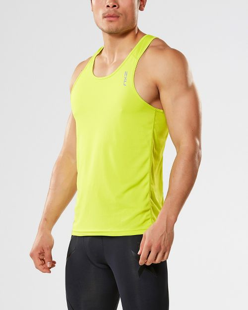 Mens 2XU X-VENT Singlet Sleeveless & Tank Tops Technical Tops - Lime/Charcoal XL