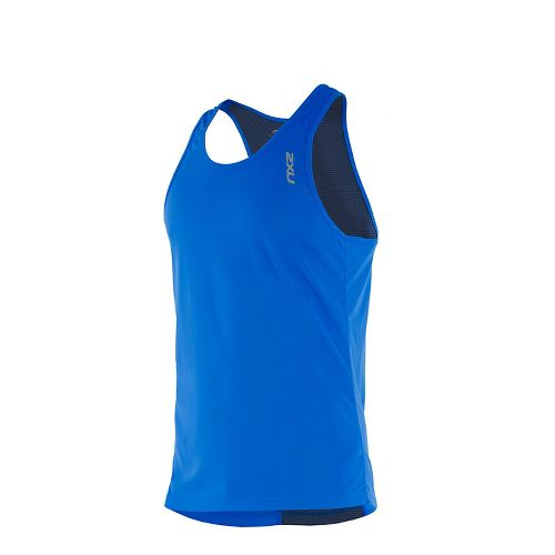 Mens 2XU X-VENT Singlet Sleeveless & Tank Tops Technical Tops - Blue/Blue XL