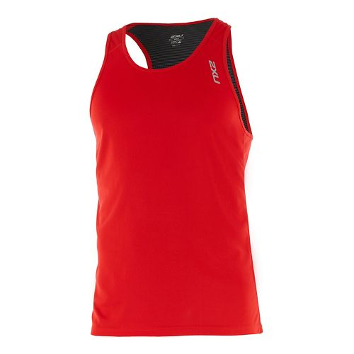 Mens 2XU X-VENT Singlet Sleeveless & Tank Tops Technical Tops - Flame/Charcoal L