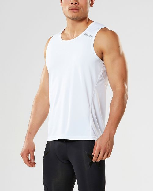 Mens 2XU X-VENT Sleeveless & Tank Tops Technical Tops - White/White XL