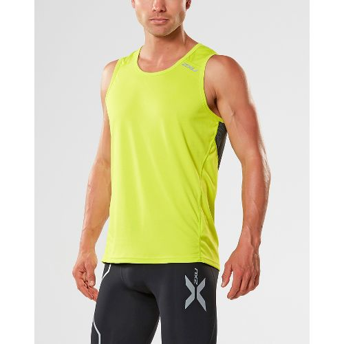 Mens 2XU X-VENT Sleeveless & Tank Tops Technical Tops - Lime/Charcoal M