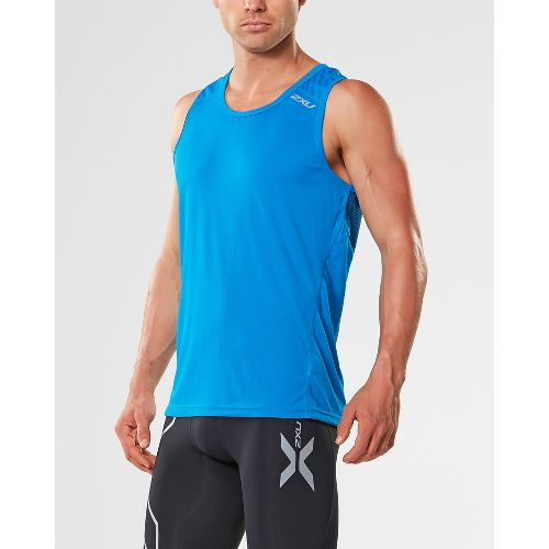 Mens 2XU X-VENT Sleeveless & Tank Tops Technical Tops - Blue/Blue XXL