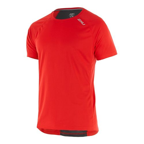 Mens 2XU X-VENT Tee Short Sleeve Technical Tops - Flame/Charcoal S