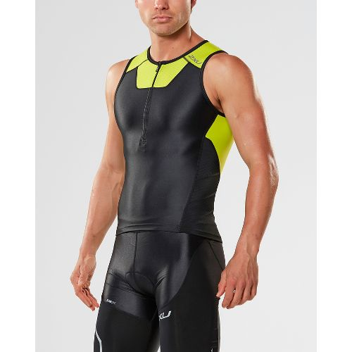 Mens 2XU X-VENT Tri Singlet Sleeveless & Tank Tops Technical Tops - Black/Lime XL