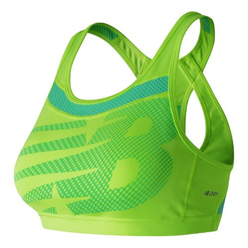 Womens New Balance NB Pulse Sports Bras - Lime Glow S