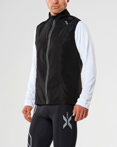 Mens 2XU X-VENT Vests Jackets - Black/Black XL