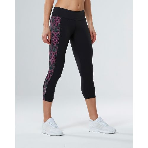 Womens 2XU Active Compression 7/8 Crop Tights - Black/Geo Pink L